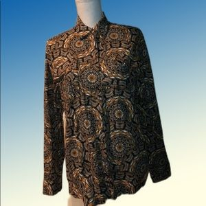 Ethnic print long sleeve button up shirt